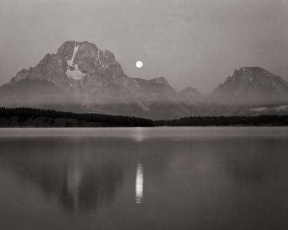 Moon Setting Over Jackson Lake