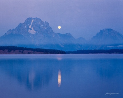 Moon Setting Over Mount Moran