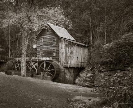 Old Mill Under Autumn Moonlight